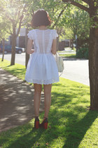 white anita broderie storets dress - ivory double bow Forever New bag