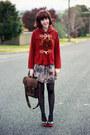 Light-brown-floral-print-modcloth-dress-brick-red-gorman-coat