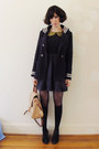 Navy-silk-tba-dress-navy-sailor-vintage-coat-nude-amalie-witchery-bag