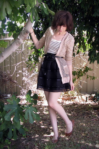 pink Rodarte for Target cardigan - white French Connection top - black Forever 2