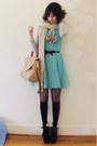 Black-chinababy-windsor-smith-boots-aquamarine-wool-shift-romwe-dress