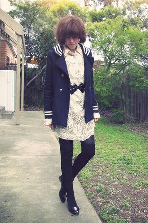 blue vintage coat - white Anna Sui for Target dress - black American Apparel soc