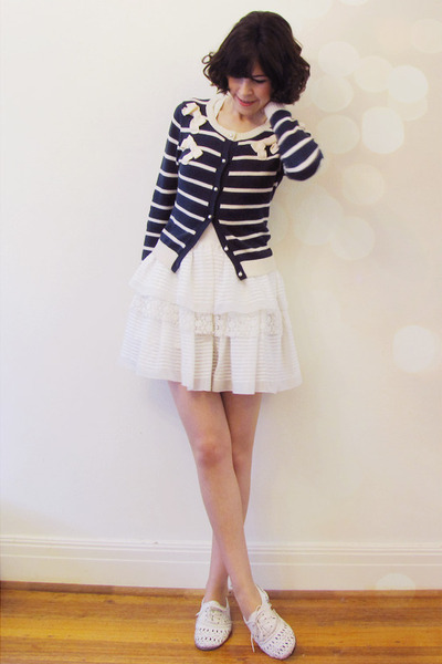 white hms pinafore modcloth dress - navy striped bow Forever New cardigan