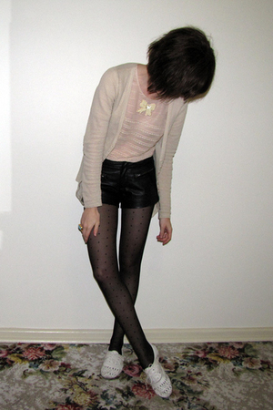 supre jacket - sretsis blouse - Forever 21 shorts - Ebay tights - Steve Madden s