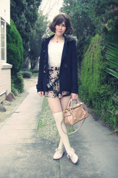peach mini bow bag Miu Miu bag - navy Forever New coat