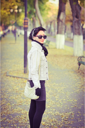 light blue jacket - heather gray skirt