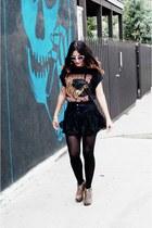 cotton vintage shirt - lace vintage skirt - cat eye Forever 21 glasses