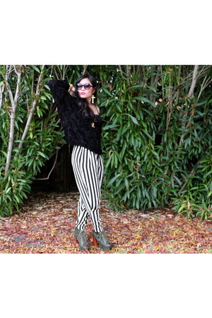stripes Evan Picone pants - Jeffrey Campbell boots