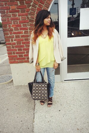 Forever 21 blazer - Aeropostale jeans - winners bag - le chateau accessories
