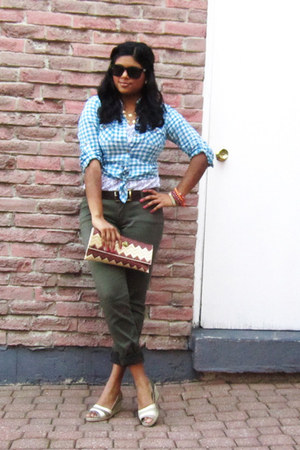 gingham Forever 21 shirt - lace Stiches top - khaki cargos Forever 21 pants - vi