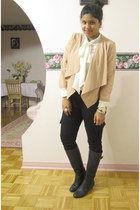 light pink Forever 21 top - black expression shoes - white Joe Fresh shirt
