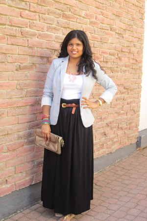 light blue Alfred Sung blazer - bronze DIY Clutch bag - black maxi H&M skirt - w