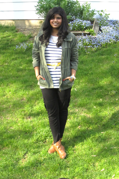 navy Forever 21 shirt - olive green Alfred Sung jacket