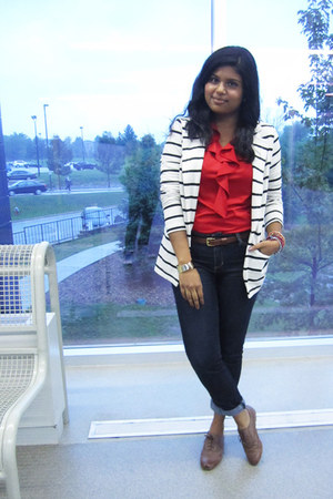 brown Steve Madden shoes - white Forever 21 blazer - red vintage shirt