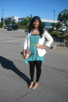 gold Aldo shoes - aquamarine Forever 21 dress - black Forever 21 tights