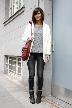 burgundy bag Alexander Wang bag - boots acne boots - Isabel Marant sweater
