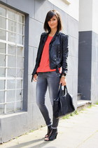 Zara jacket - studded bag Alexander Wang bag - lace up wedges acne wedges - week