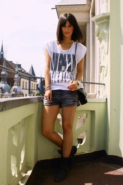 weekday shirt - Zara shorts - Chanel accessories - fiorentini&baker shoes