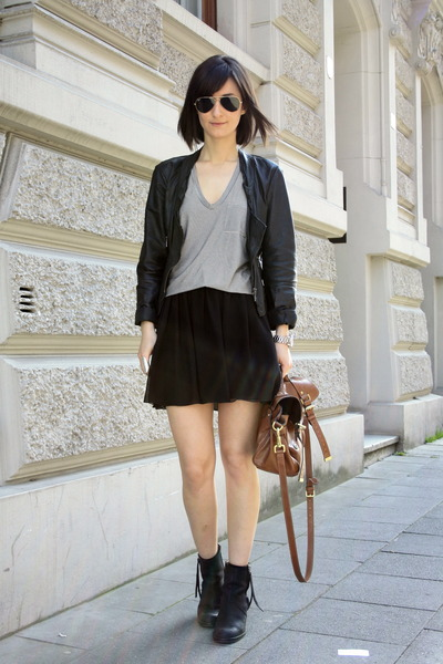acne boots - leather jacket Zara jacket - t by alexander wang top - American App