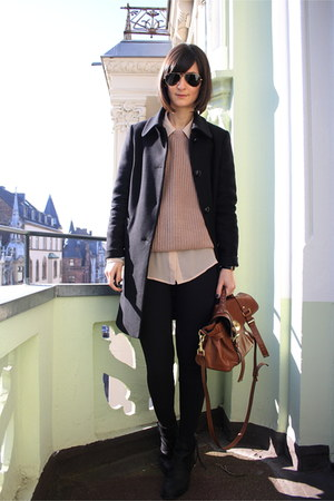 booties acne boots - Massimo Dutti coat - American Apparel sweater - shoulder ba