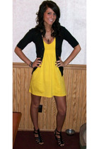 gold Victorias Secret dress - black Mossimo cardigan - black Not Rated shoes - g