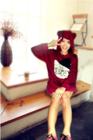 red cat style indressme hoodie - red shoes