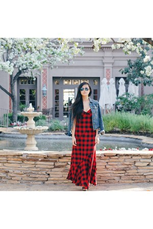 plaid maxi Macys dress - denim Levis jacket - Shoedazzle heels