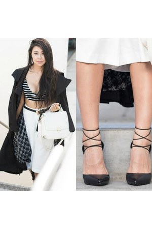black trench Lulus coat - Lulus bag - Lulus pants - Lulus heels - Lulus top