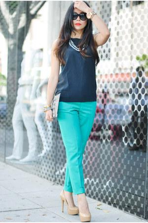 gray clutch Alexander Wang bag - green emerald slacks Reiss pants