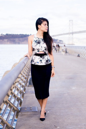 Three Of Something top - black Motel skirt - black Kardashian Kollection heels