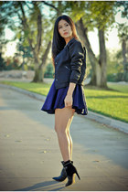 black sam edelman boots - navy cameo dress - black StyleMint jacket