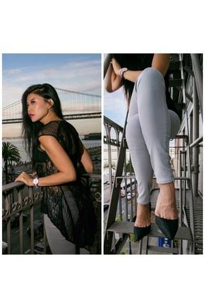 black Kardashian Kollection heels - heather gray DSTLD jeans - black Elliat top