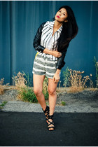 black and white Motel jacket - grey patterned N12H shorts
