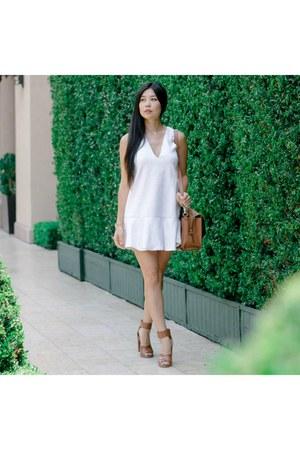 white keepsake dress - brown kate spade bag - JustFab heels