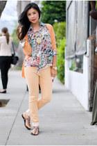 coral sweater knit cynthia rowley cardigan - orange rag & bone jeans