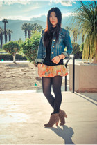 navy denim jacket Gap jacket - bronze suede just fab boots