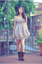 dark brown lida sayer Clarks boots - babydoll Gold Hawk dress