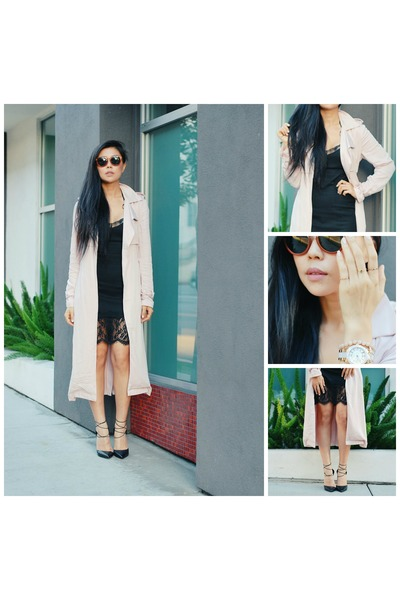 black lace H&M dress - light pink trench Forever 21 jacket