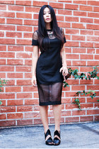black sheer Lulus dress - orange statement Lulus necklace