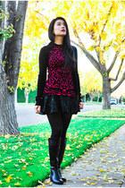 black DSW boots - black Celine purse - black leather Zara skirt