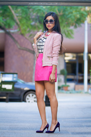 bubble gum tweed Zara jacket - white checkered shopsosie dress