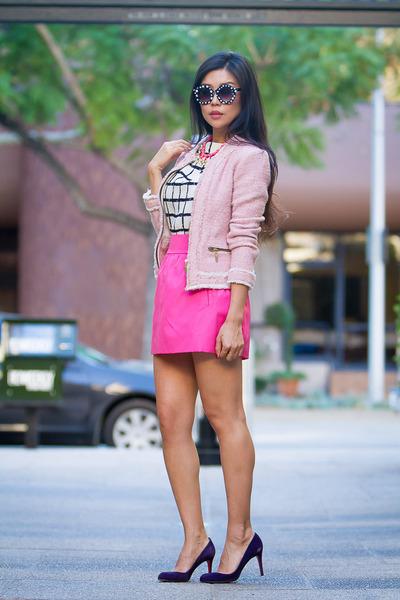 bubble gum tweed Zara jacket - white checkered shopsosie dress