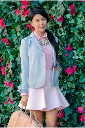 spring flats - Gap blazer - skirt - top - watch