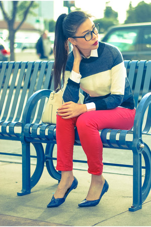 blue stripe ALC sweater - red denim Zara jeans - blue pointy sam edelman flats