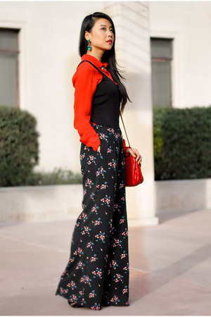 black floral American Rag jumper - red Koret bag - red Parker blouse