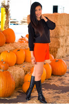 black slouchy Joe Fresh sweater - orange Lulus shorts