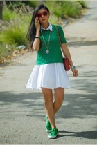 green bow tie Lulu Frost sneakers - white flare Lulus dress