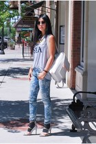 white oversized Aldo bag - sky blue printed Cult of Humanity jeans