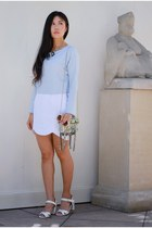 white keepsake skirt - light blue feminine Zara shirt