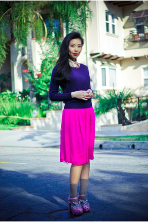 navy cableknit H&amp;M sweater - magenta silk In My Air skirt